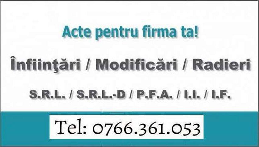 INFIINTARE / RADIERE / MODIFICARE FIRMA CRAIOVA/DOLJ